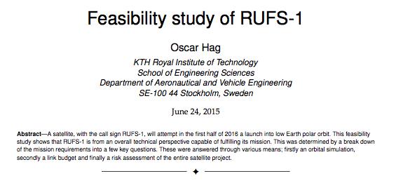 Teknisk förstudie av Rufs-I komplett